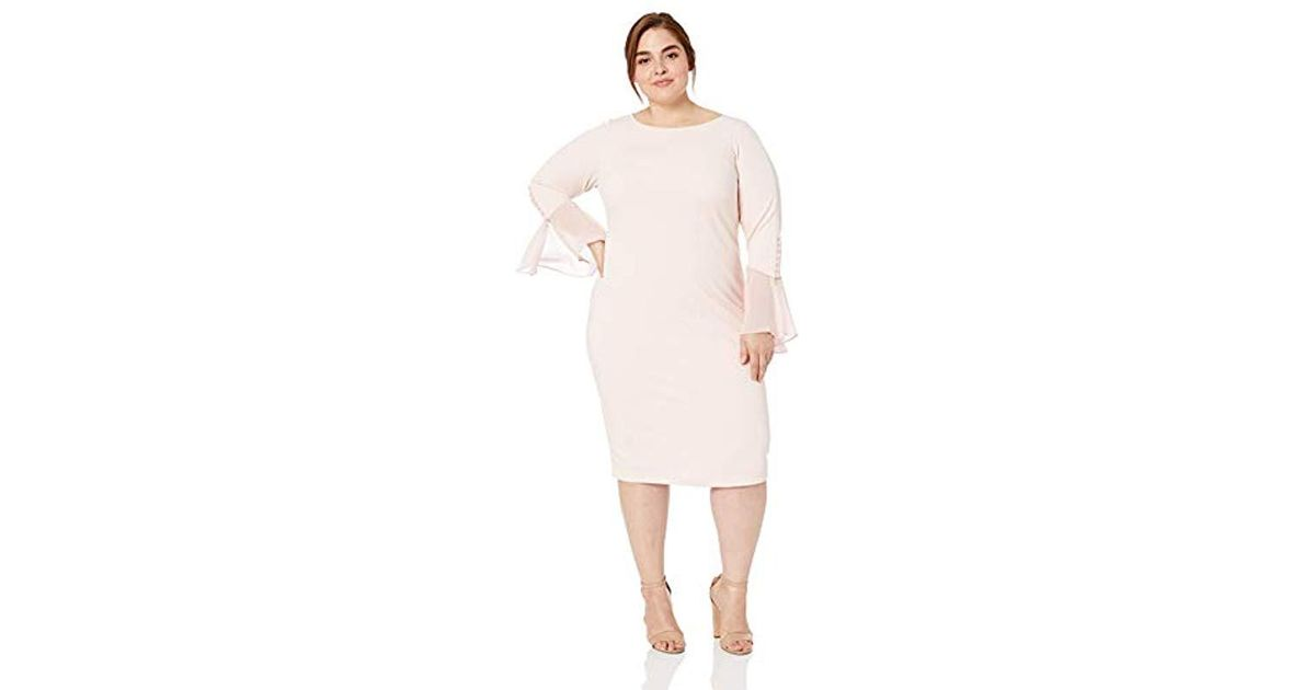 80a61df7 Calvin Klein Plus Size Solid Sheath With Chiffon Bell Sleeves Dress in Pink  - Lyst