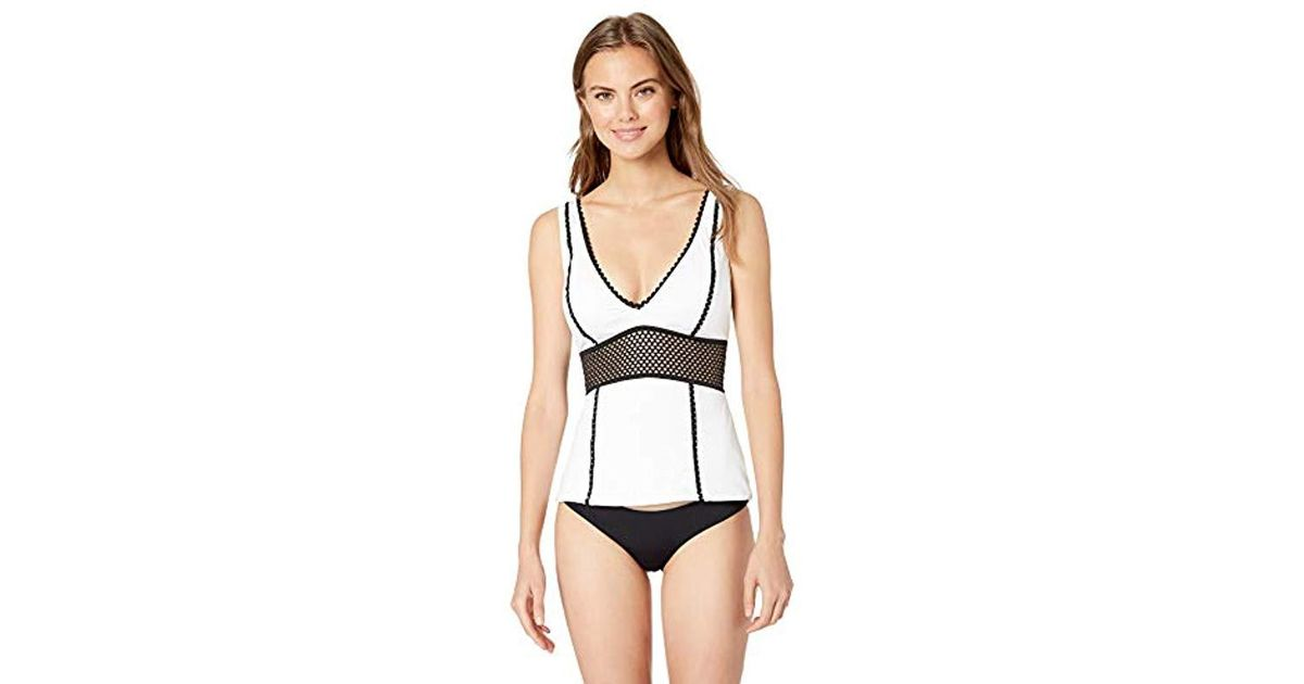 d30634bdfd Kenneth Cole V-neck Wide Band Tankini Swimsuit Top in White - Save 54% -  Lyst
