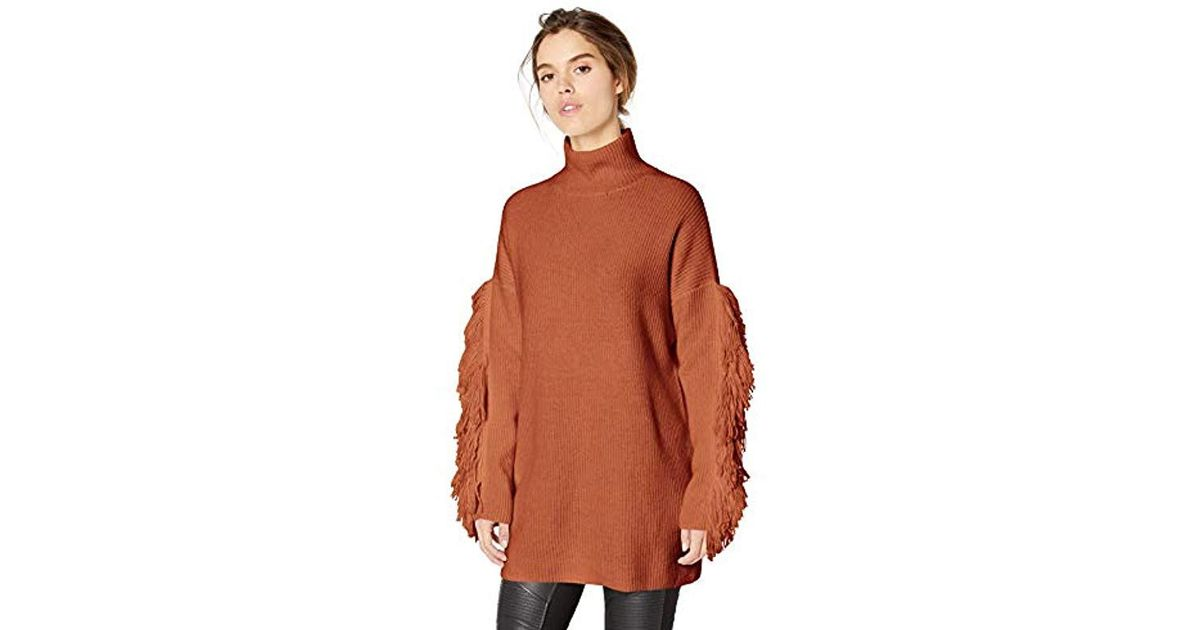 af80339e9be BCBGMAXAZRIA Fringe Turtleneck Tunic Sweater in Brown - Save 34% - Lyst