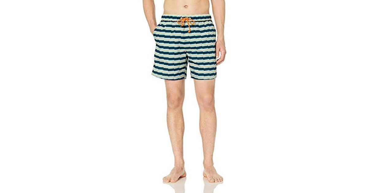434c57ce3b Lyst - Original Penguin Stripe Elastic Waist Volley Swim Short in Blue for  Men