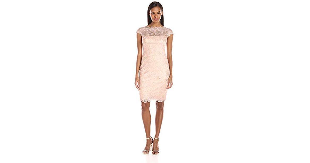 0ac45e2f280a Lyst - Tadashi Shoji Cap Sleeve Floral Lace Dress