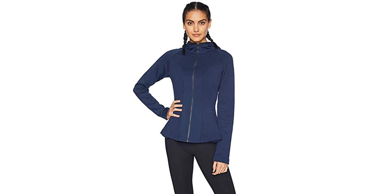 788e5c8c299 Lyst - Core 10 Motion Tech Fleece Fitted Peplum Full-zip Hoodie Jacket in  Blue