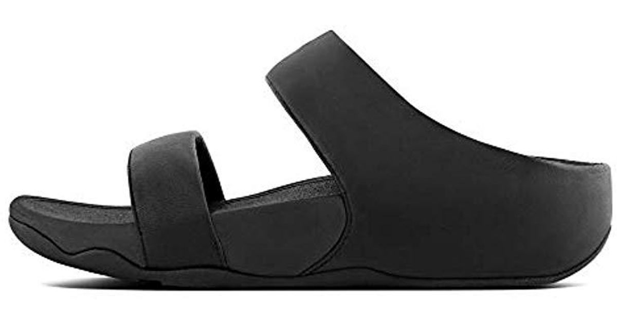 8f243e5d22250 Lyst - Fitflop Lulu Leather Slide Sandal in Black - Save 22.22222222222223%