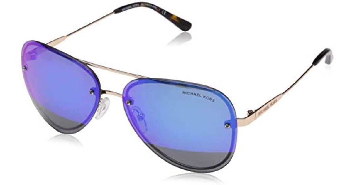 7c455bd4d8 ... Michael Kors La Jolla Sunglasses In Rose Gold Blue Mirror Mk1026