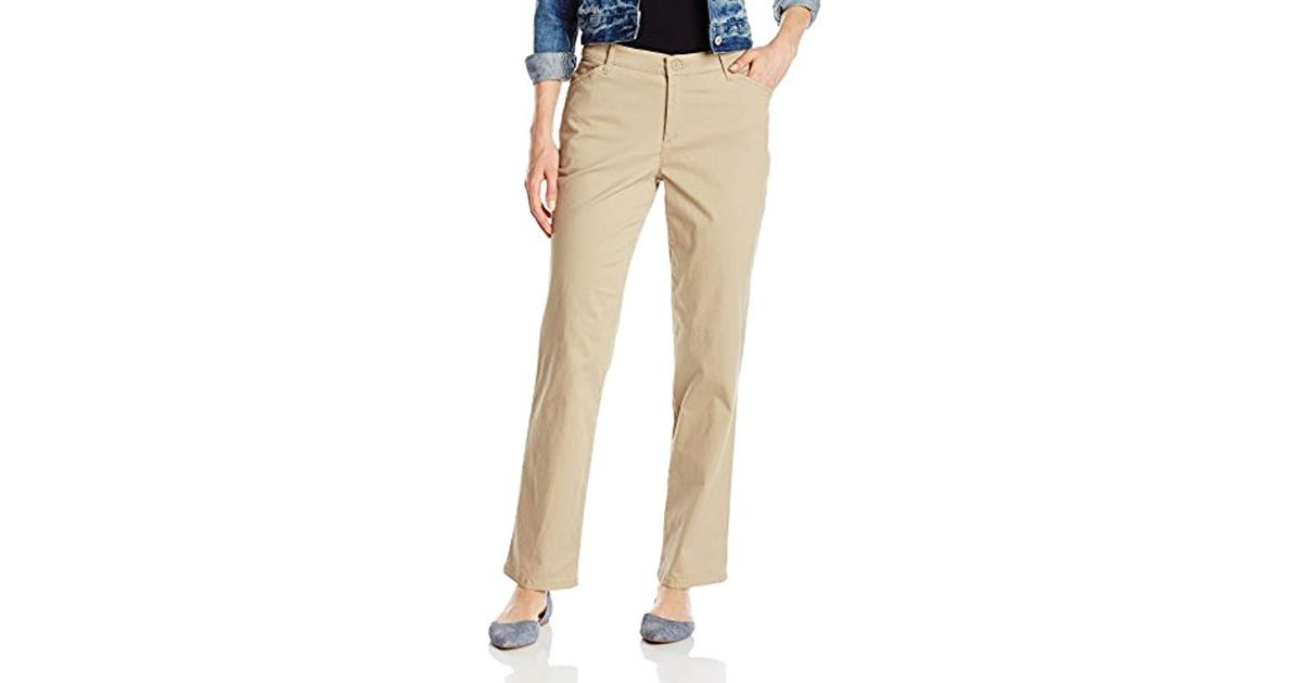 34829ca0 Lyst - Lee Jeans Relaxed Fit All Day Straight Leg Pant, Flax, 6 Short
