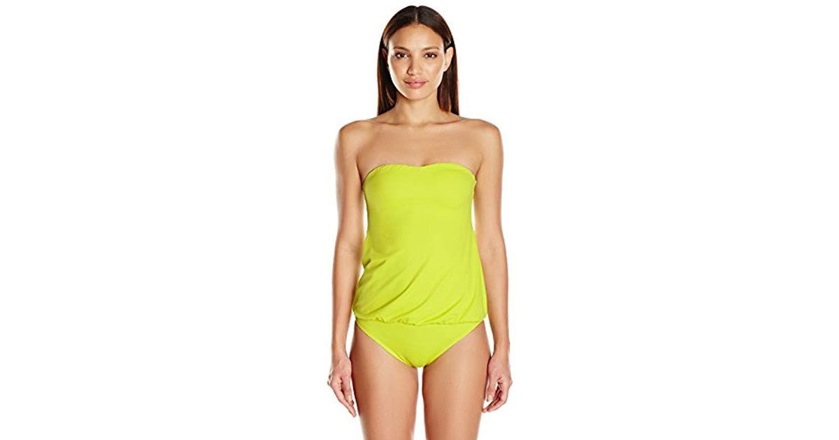 Norma Kamali Womens Strapless Baby Doll Blouson Mio One Piece Swimsuit Solid