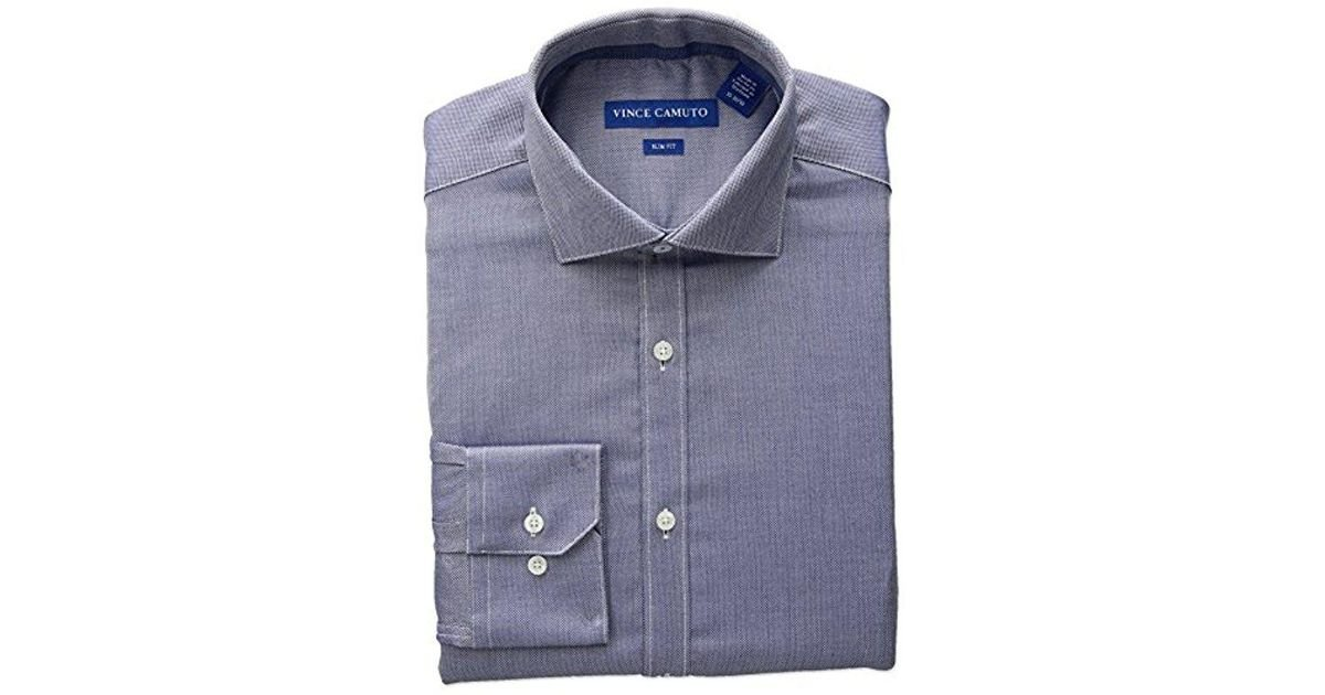 8cfbd116feb Lyst - Vince Camuto Slim Fit Stretch Diagonal Dobby Dress Shirt With Collar  in Blue for Men - Save 12%