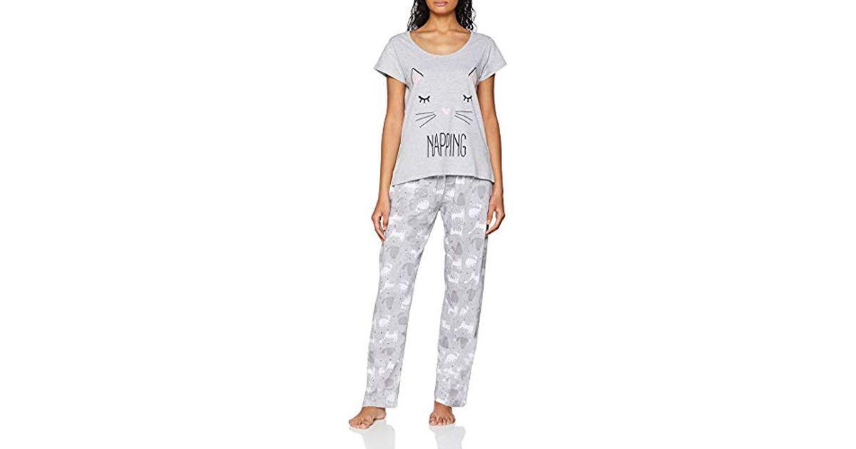 dbf454d7e9 Dorothy Perkins Grey Napping Cat Pyjamas in Gray - Lyst
