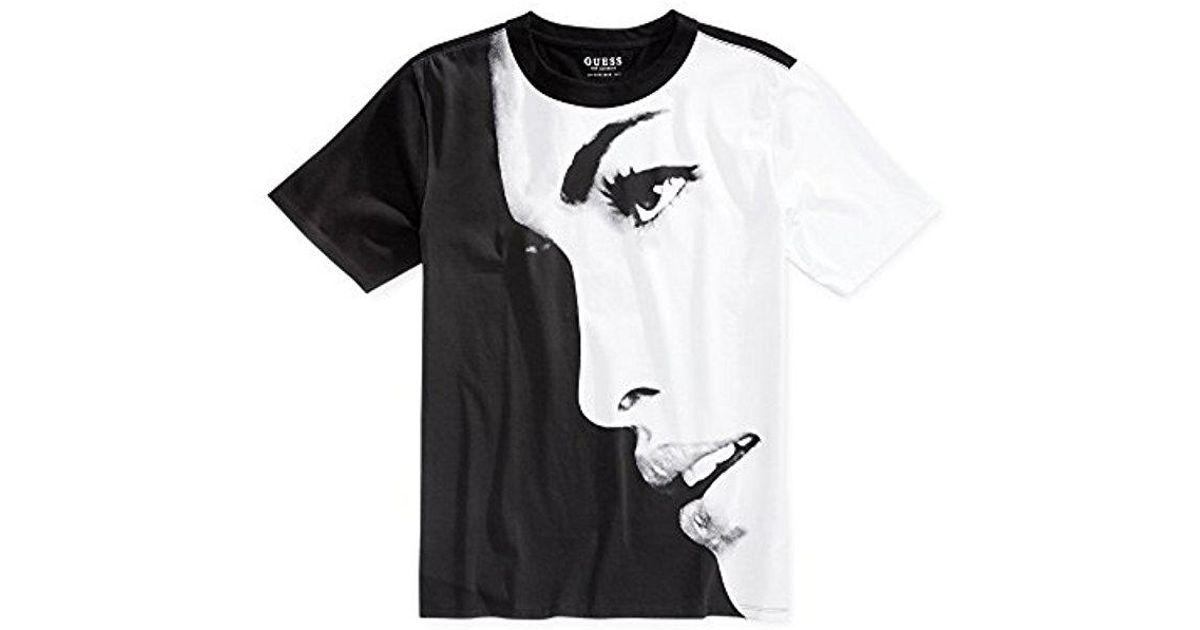 349886af Lyst - Guess Oversized Face Crew Neck T-shirt in Black for Men