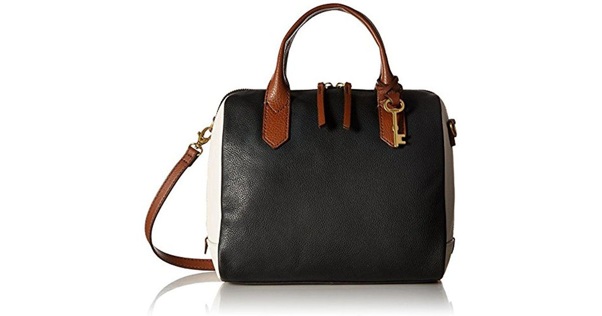 2dc6429d79 Lyst - Fossil Fiona Satchel Handbag in Black