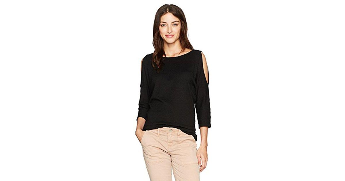 881717f33450b Lyst - Michael Stars Shine 3 4 Sleeve Boat Neck Cold Shoulder Top in Black