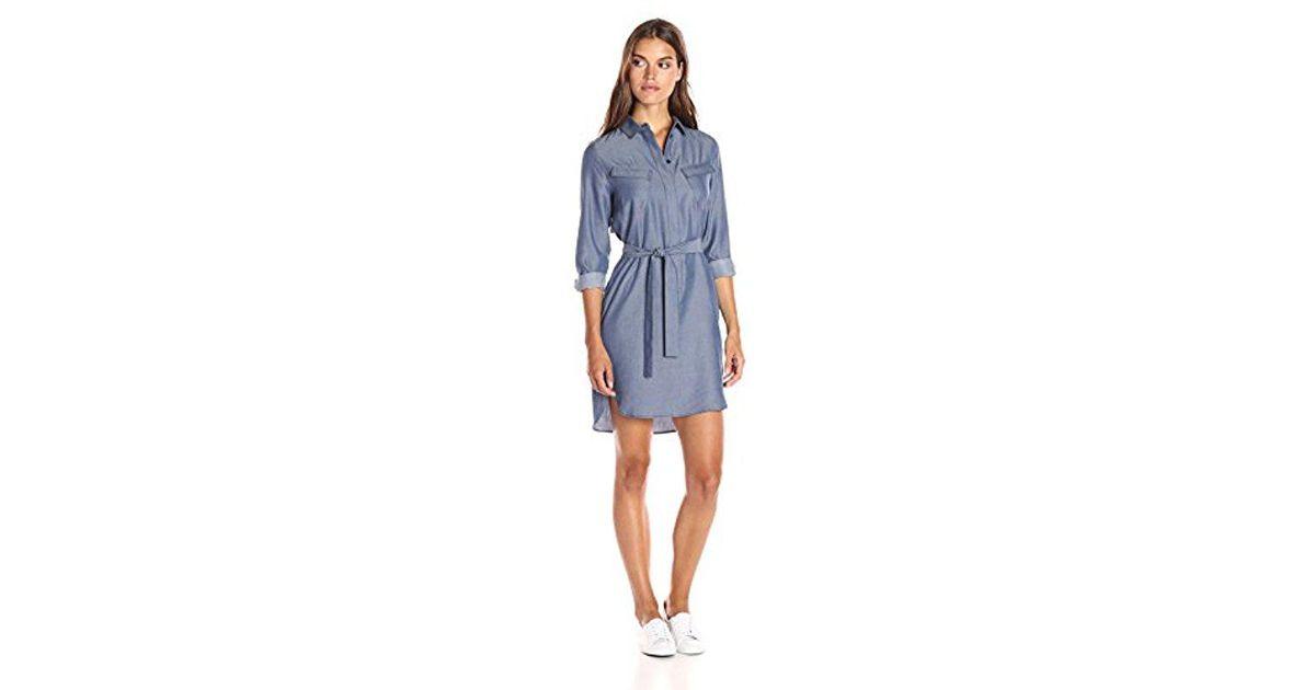 d462e106e9 Lacoste - Blue Long Sleeve Chest Pocket Denim Twill Shirt Dress - Lyst