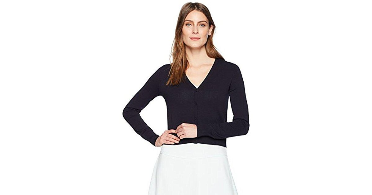 Lyst - Lark   Ro Button Down V-neck Cropped Cardigan Sweater in Blue 92d2b4aec
