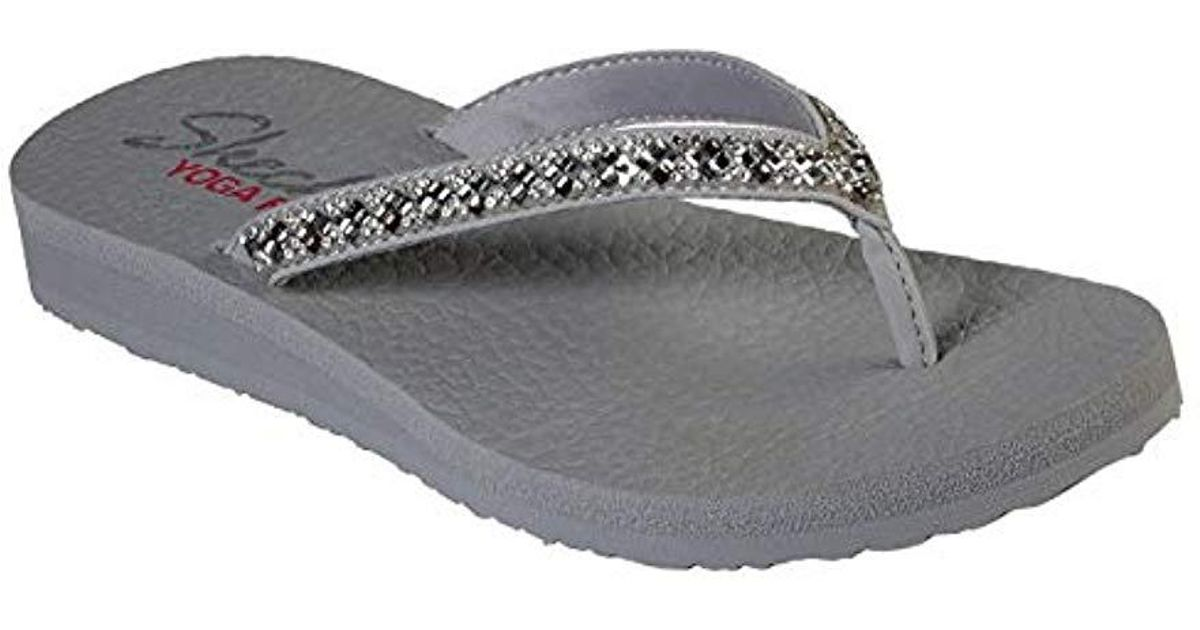 a41a4f76d3d2 Lyst - Skechers Meditation-perfect 10-square Rhinestone Embellished Thong  Flip-flop in Gray - Save 20%