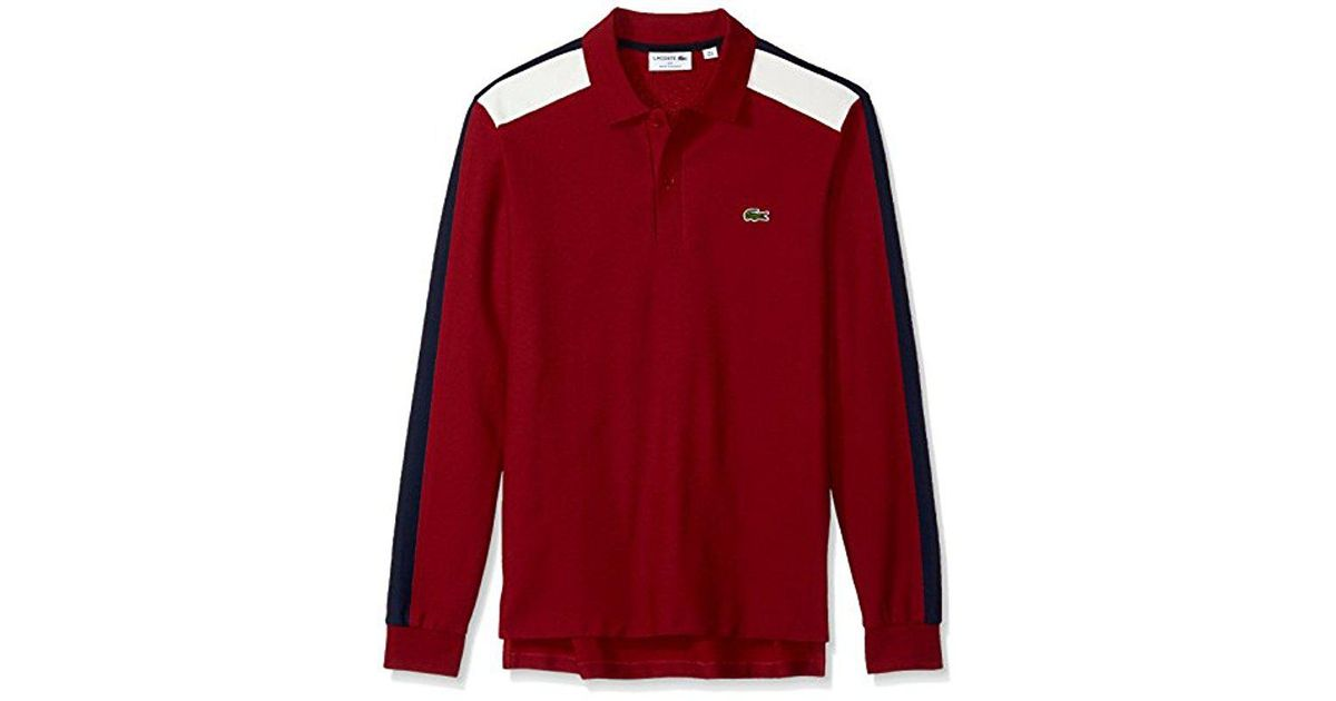 d7927be8 Lacoste Mif Long Sleeve Noppe Pique Polo-regular Fit in Red for Men - Save  13% - Lyst