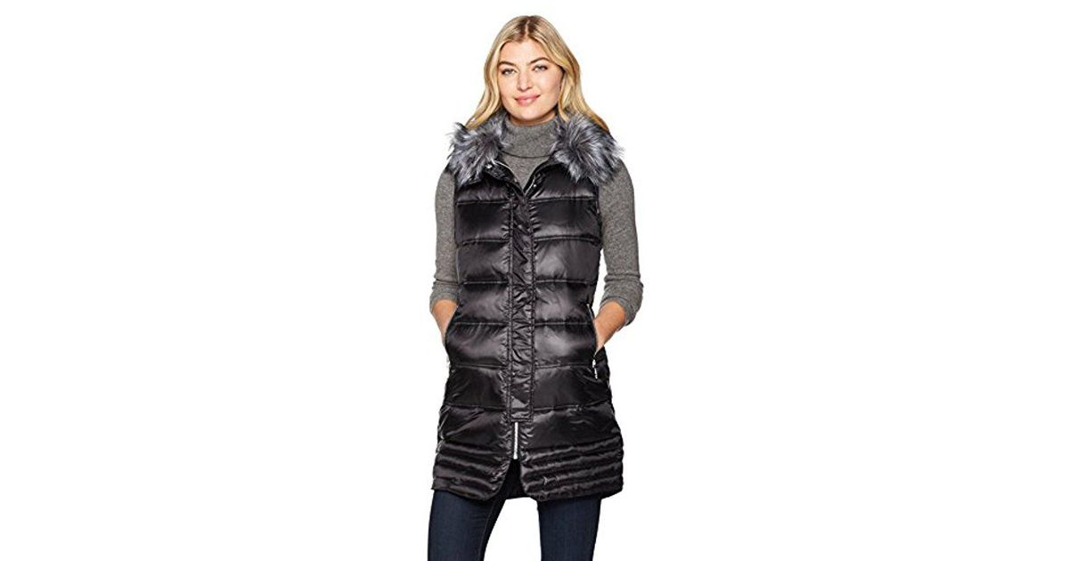 187bb9008f2d Sam Edelman Faux Fur Puffer Vest (black) Vest in Black - Save 44% - Lyst