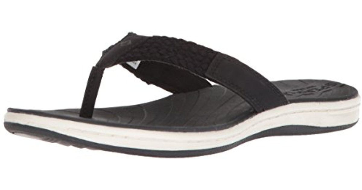 3c2f95f34416d Lyst - Sperry Top-Sider Seabrook Swell Flat Sandal in Black