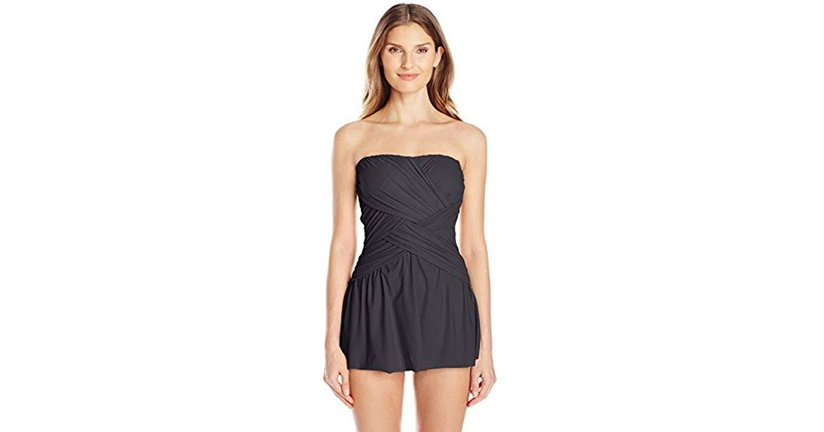 085f148e430d0 Lyst - Gottex Draped Panel Bandeau Swimdress One Piece Swimsuit in Black -  Save 14%