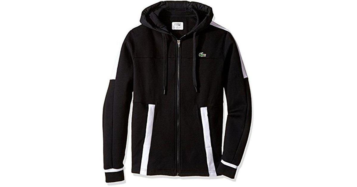 304f78b1f611c7 Lyst - Lacoste Tennis Fleece Colorblock Zip Hoodie in Black for Men