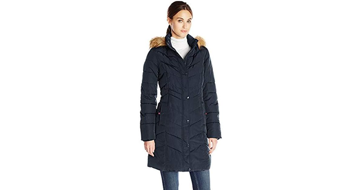 f726e58a Lyst - Tommy Hilfiger Long Chevron Quilted Down Alternative Coat With Fur  Trim Hood in Blue