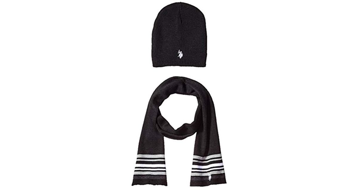 Lyst - U.S. POLO ASSN. Mini Winter Beanie And Scarf Set in Black for Men b1533195c9c