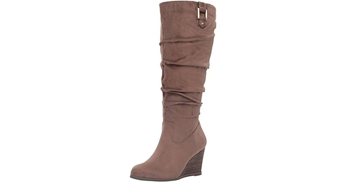 97642941d585 Lyst - Dr. Scholls Poe Wide Calf Slouch Boot in Brown - Save 50%