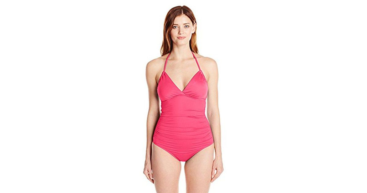 bcee99762e Lyst - Lark   Ro One-piece Swimsuit With Adjustable Armhole in Pink