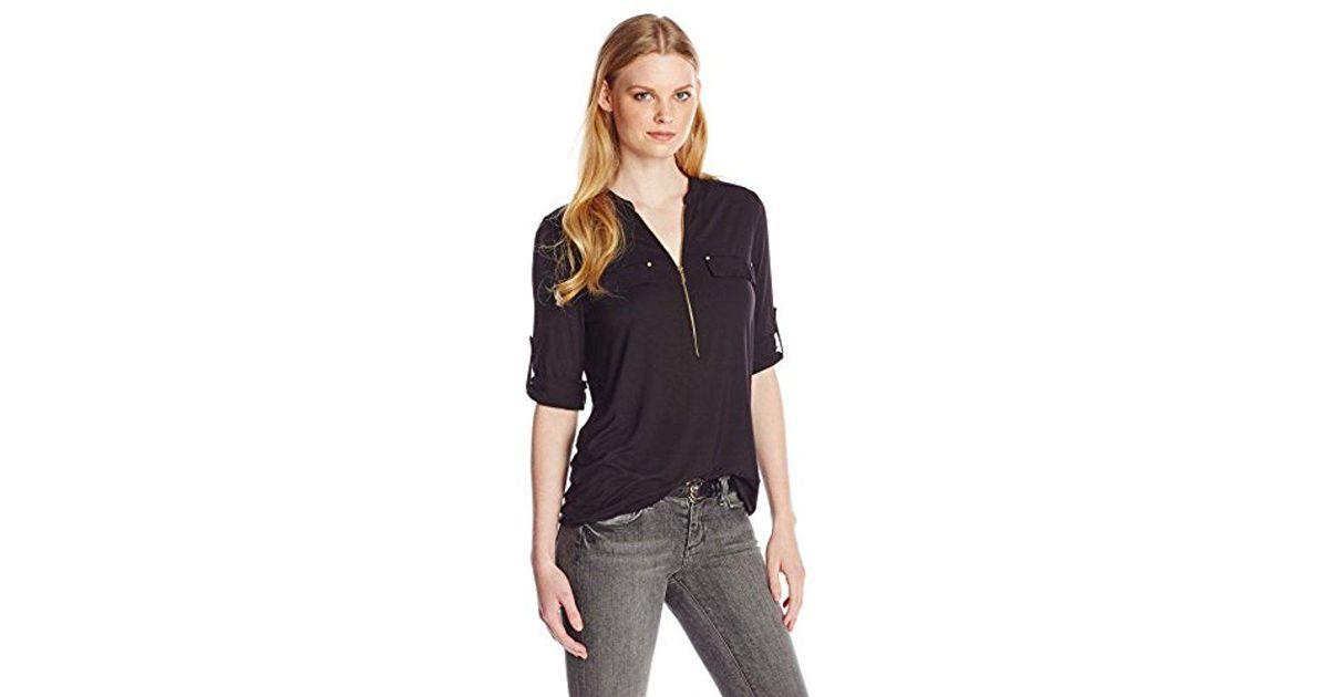 1c062de1 Lyst - Calvin Klein Modern Essential Zip Front Roll Sleeve Blouse in Black  - Save 13%