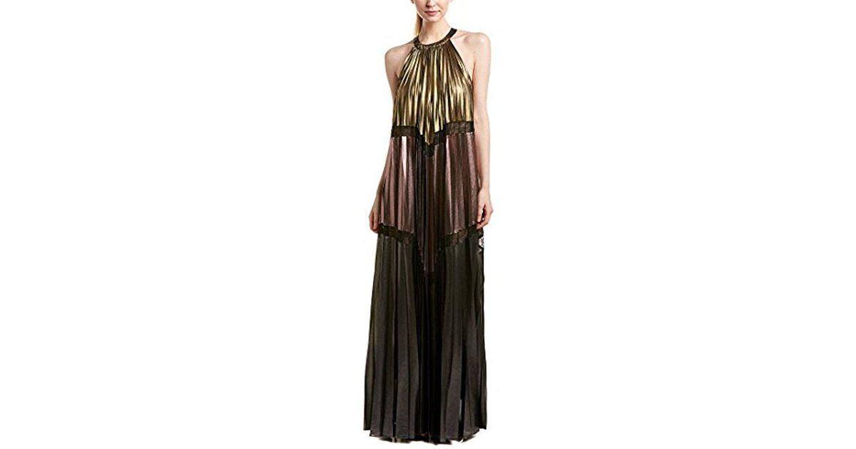 d7397ed9f BCBGMAXAZRIA Alyson Metallic Color-blocked Maxi Dress in Metallic - Lyst