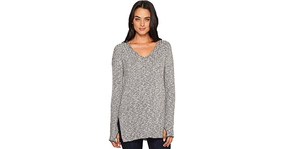 03e202dd77f8cf Lyst - Michael Stars Jasper Poorboy V-neck Long Sleeve Tunic With Slits in  Gray