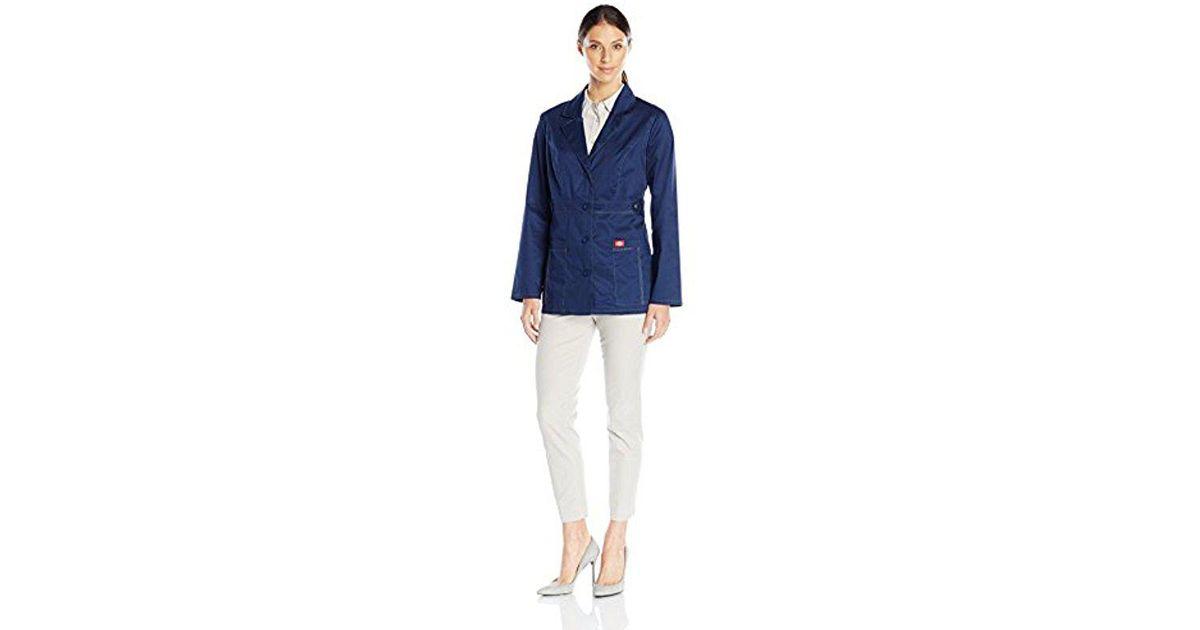 5a0babf256b Dickies Scrubs 82408 Gen Flex Junior Fit Contrast Stitch Lab Coat in Blue -  Lyst