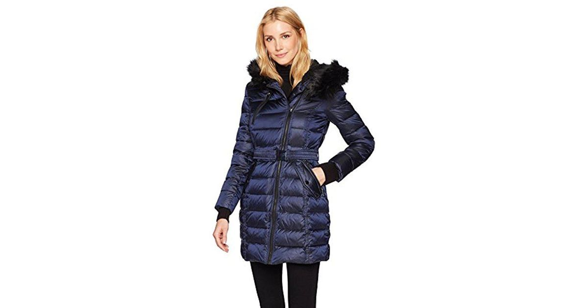 a1903ef83 French Connection Down Coat With Belt And Sherpa Lined Faux Fur Hood ...