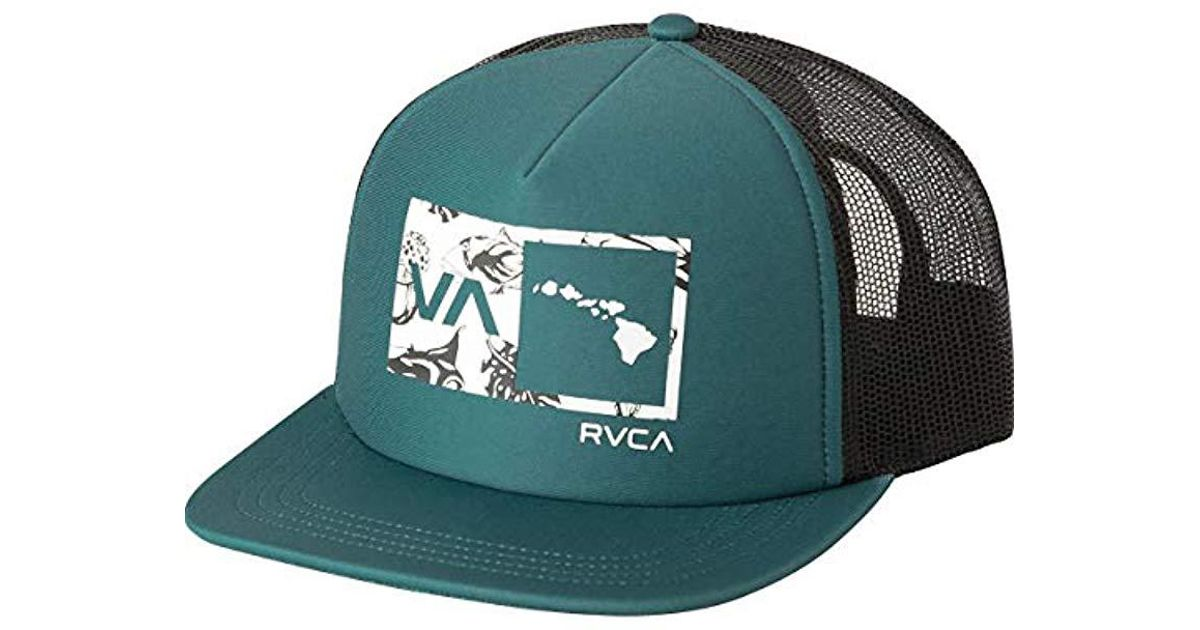454fd22eb5a ... best price lyst rvca islands balance box trucker hat in green for men  8c546 75028 ...