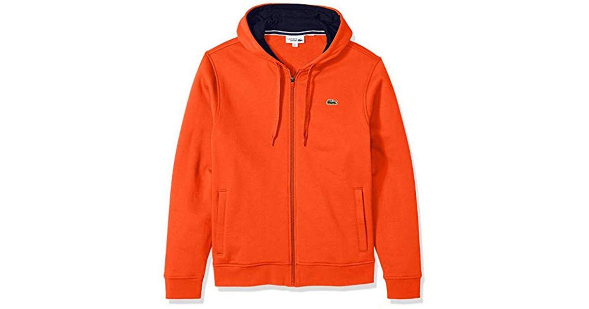 cec344a6162a Lyst - Lacoste Sport Long Sleeve Fleece Full Zip Hoodie in Orange ...