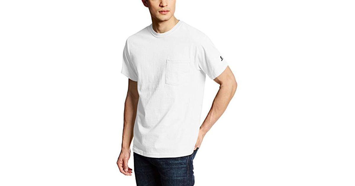 53f5e45f69c Russell Athletic Basic Cotton Pocket T-shirt in White for Men - Lyst