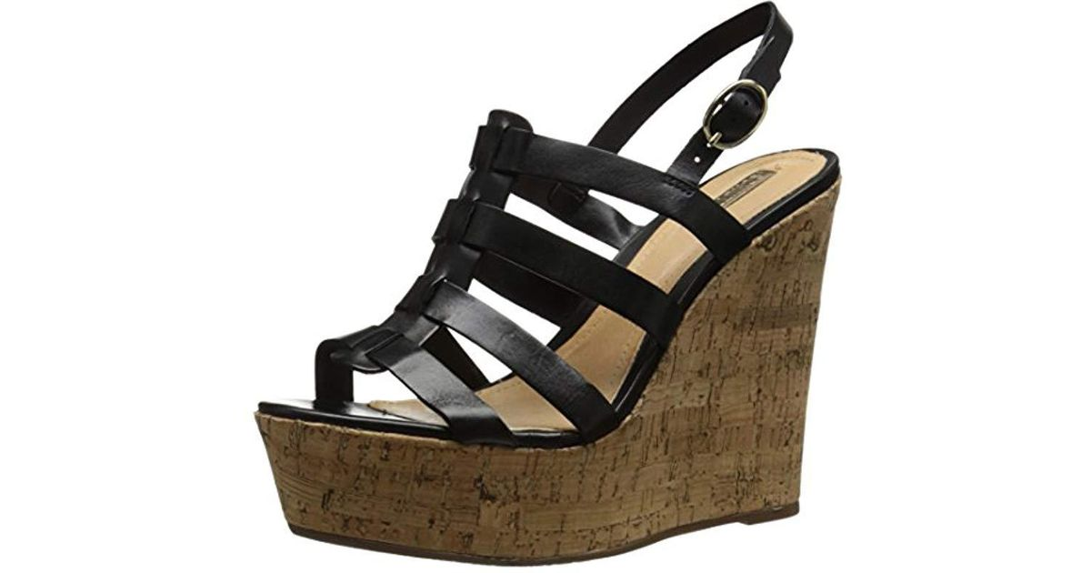 868092952546 Lyst - Schutz Egenia Wedge Sandal in Black