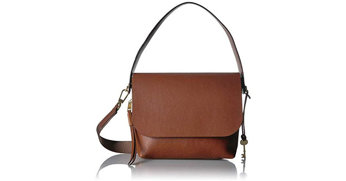 cc10ea52c963 Lyst - Fossil Maya Large Flap Crossbody Bag in Brown - Save 29%