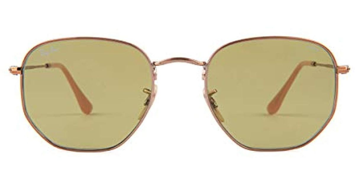 e184598a9f Ray-Ban Hexagonal Flat Lens Sunglasses In Gold Light Blue Flash Rb3548n  001 9o 48 for Men - Lyst