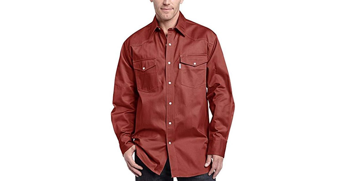 fbd9f3dc15 Lyst - Carhartt Ironwood Twill Work Shirt Snap Front Relaxed Fit S209 in  Red for Men