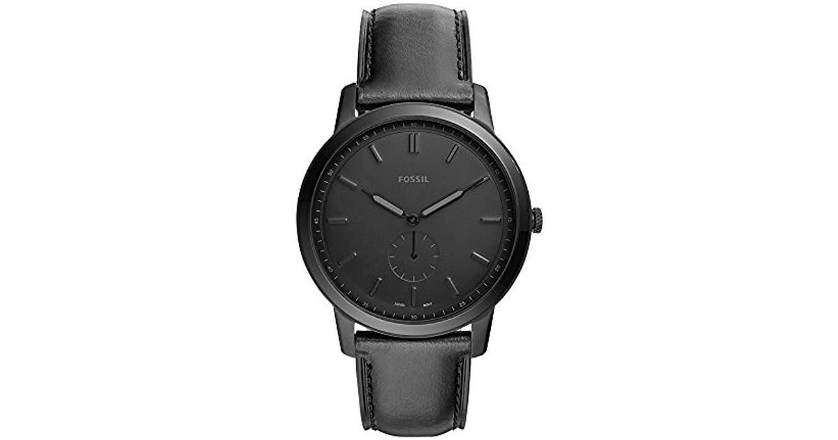 0d1e190ff656 Lyst - Fossil The Minimalist Two-hand Black Leather Watch in Black for Men