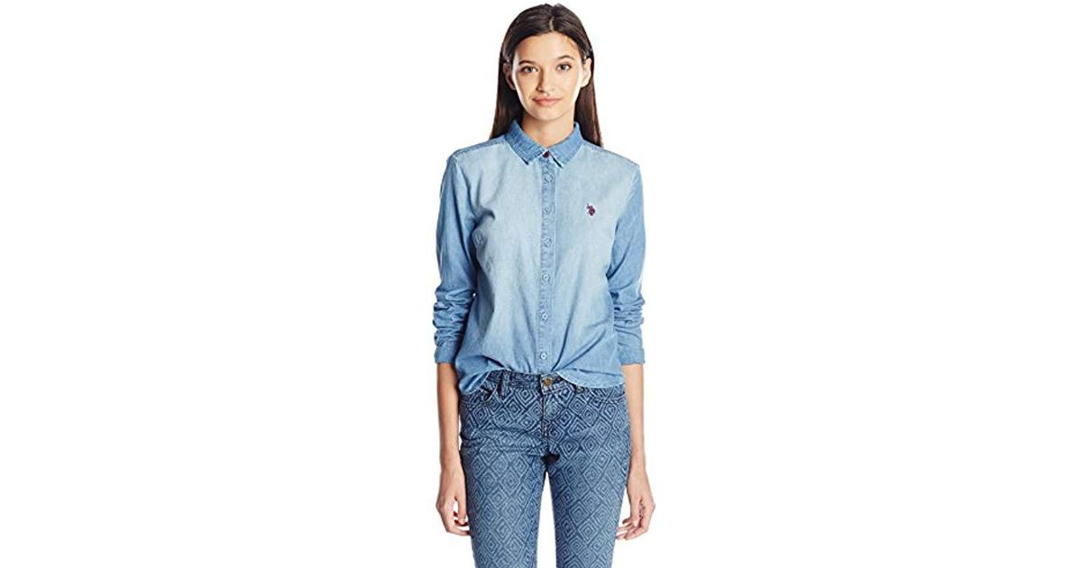 de962b71145 Lyst - U.S. POLO ASSN. Juniors Long Sleeve Denim Shirt In Light Indigo Wash  in Blue