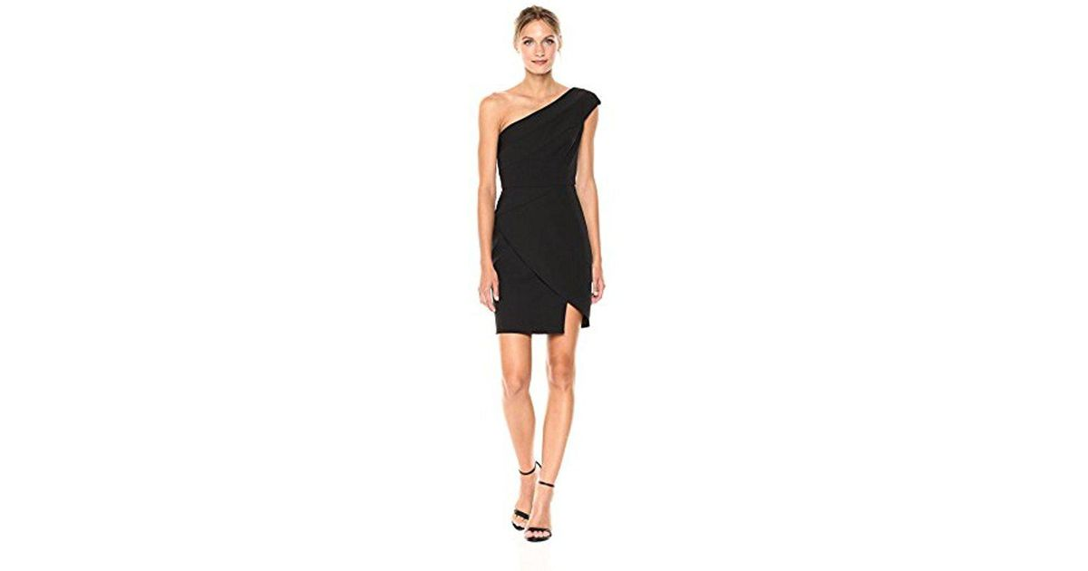 dc4e71b7b62 BCBGMAXAZRIA Aryanna One Shoulder Woven Dress in Black - Lyst