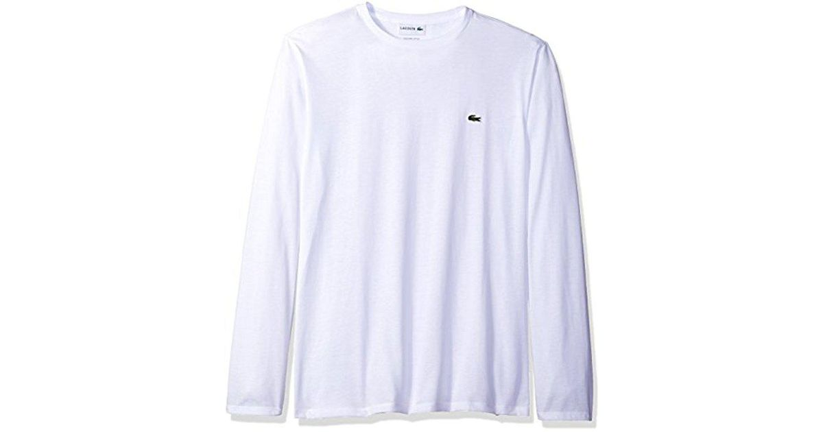 87d9bb3e Lyst - Lacoste Long Sleeve Pima Jersey Crewneck T-shirt in White for Men