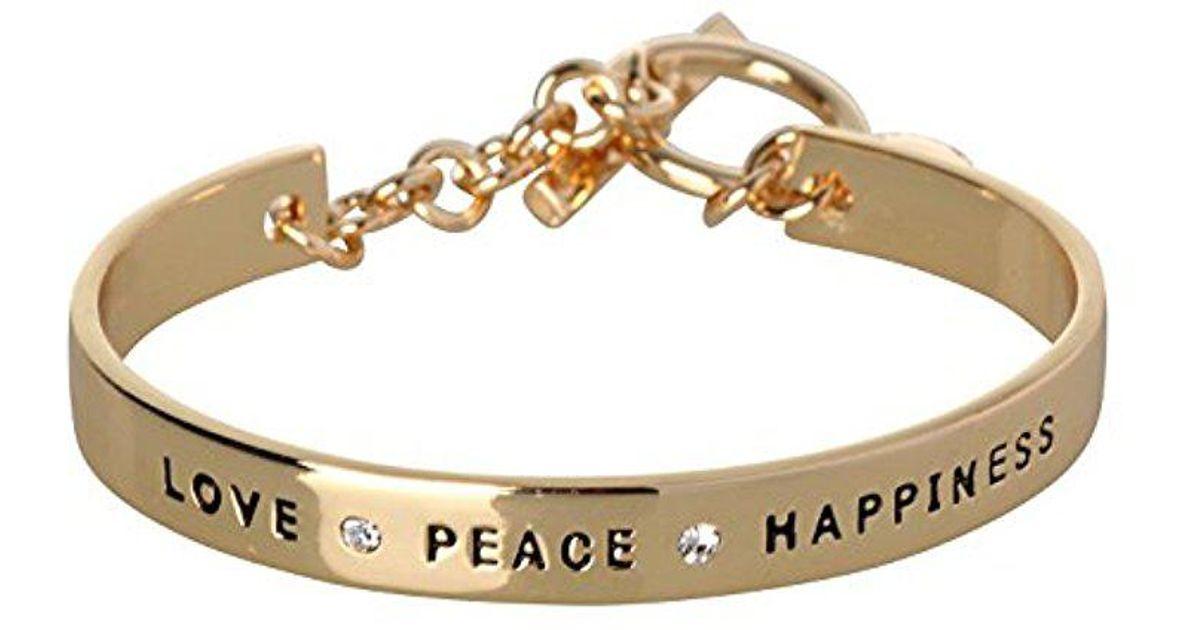 Lyst Bcbgeneration Bcbg Generation Love Peace Hiness Cuff Bracelet In Metallic Save 11 111111111111114