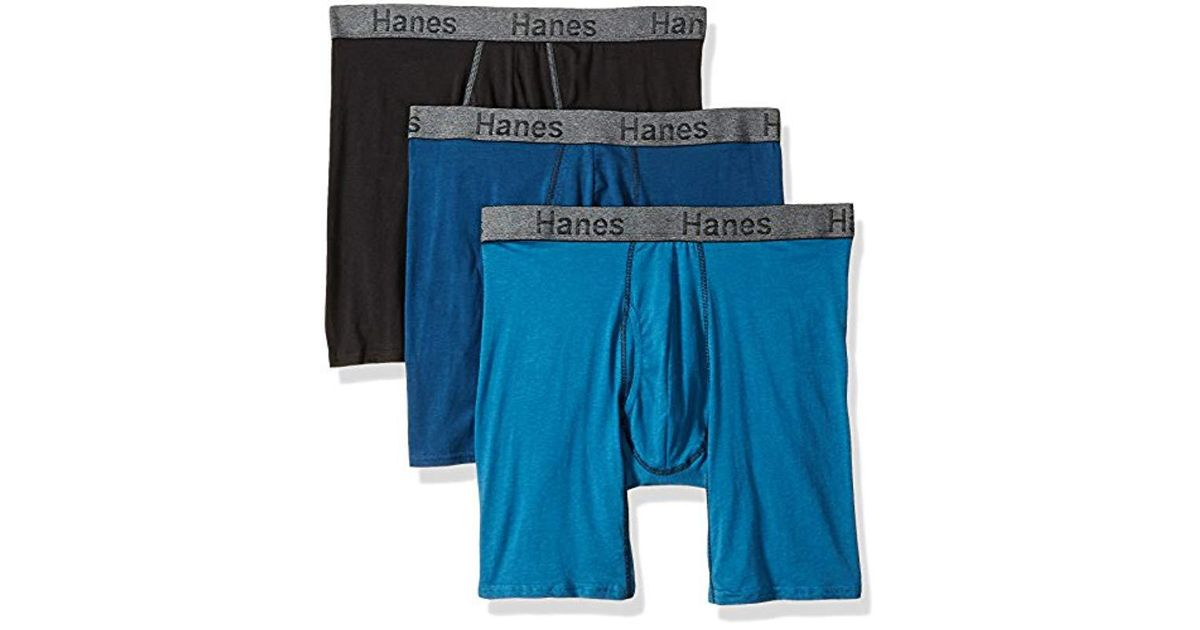 044c3cbc77e Hanes 3-pack Comfort Flex Fit Ultra Soft Long Leg Boxer Brief in Blue for  Men - Save 7% - Lyst