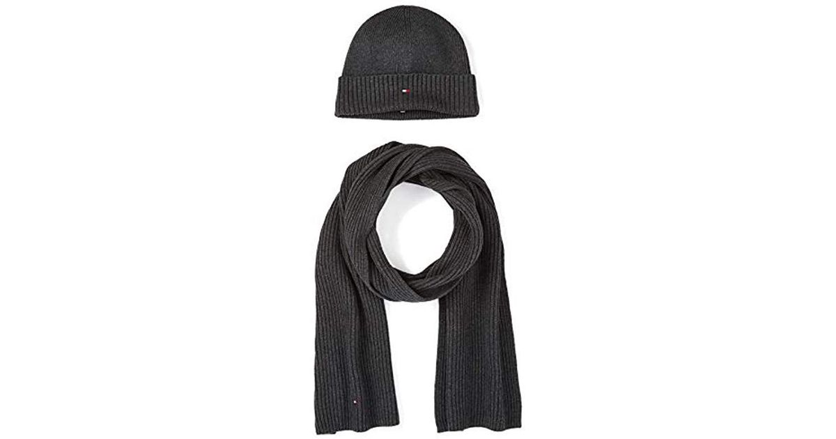 Tommy Hilfiger S  pima Cotton  Beanie Hat And Scarf Gift Set in Gray for Men  - Lyst 50c793e0b617