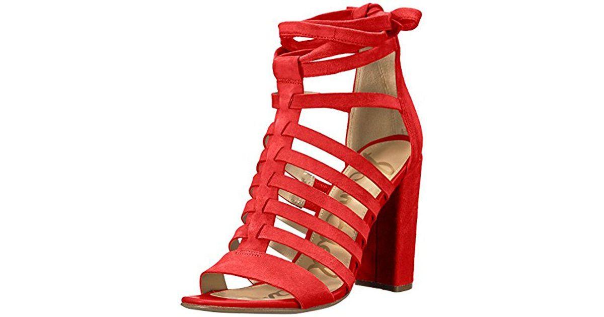 ed720ad21da355 Lyst - Sam Edelman Yarina Heeled Sandal in Red - Save 62%