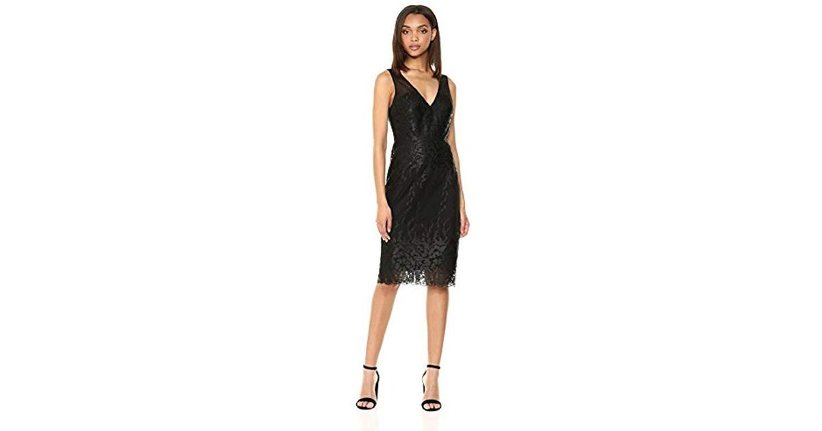 Lyst Nicole Miller Sleeveless V Neck Fitted Cocktail Dress In Black