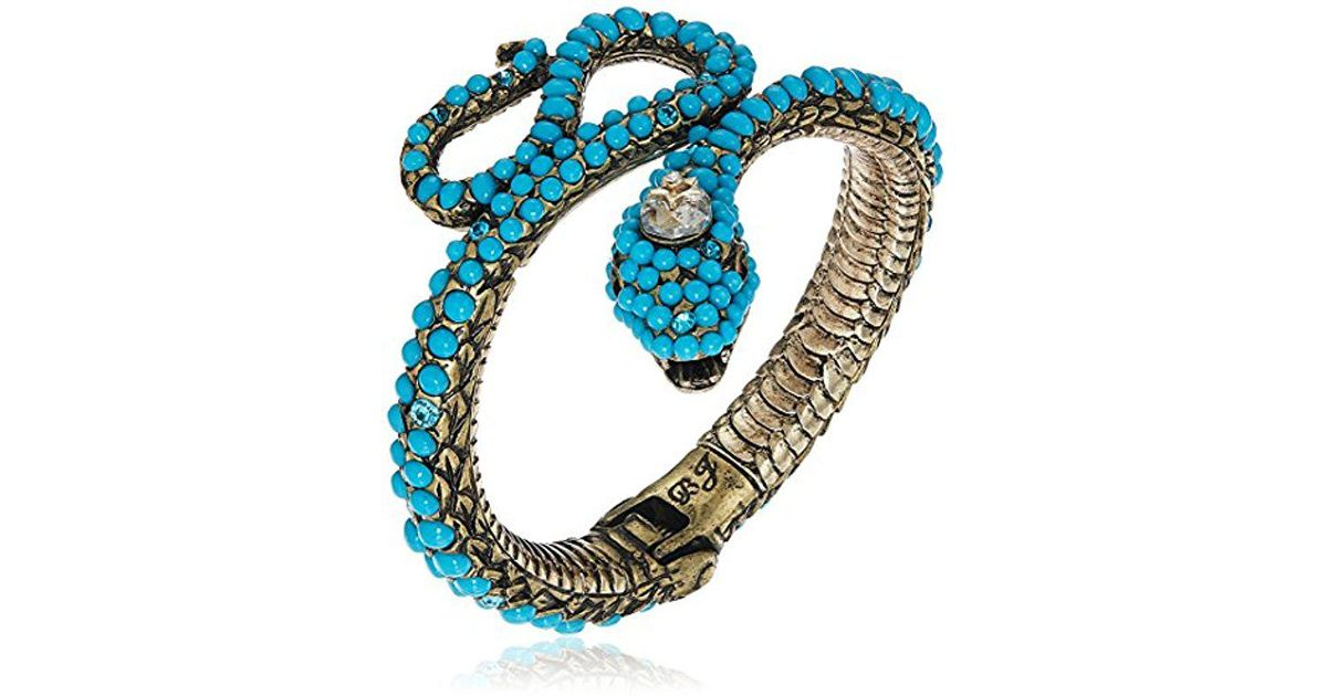 a5ff87c9c54 Betsey Johnson Mystic Baroque Queens Blue Snake Hinge Cuff Bracelet in Blue  - Lyst