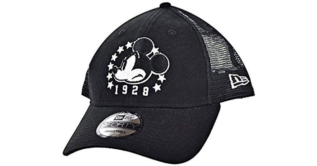 Lyst - KTZ Mickey Mouse 1928 Netted 9forty Snapback Hat Cap Black white  80470544 in Black for Men f917b73989e1
